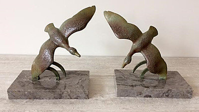 French Art Deco Duck Bookends in Aged Bronze On a Grey Marble Plinth