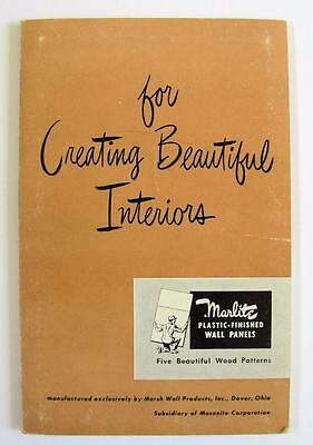 1949 MARLITE PLASTIC FINISH WALL PANEL ARCHITECTURE CATALOG w SAMPLE Masonite Co