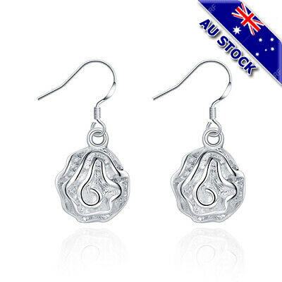 Classic 925 Sterling Silver Filled Solid Scrub Flower Dangly Earrings Party