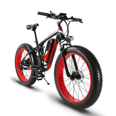 Cyrusher Electric Mountain Fat Bicycle 1000W MTB Dual Suspension 48V 5PAS eBike