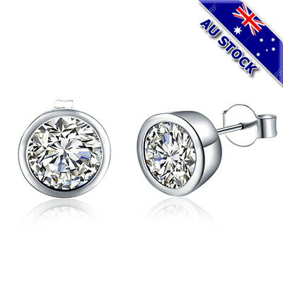 Classic 925 Sterling Silver Filled 10mm Clear Cubic Zirconia Crystal Stud Earrin