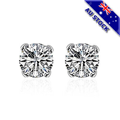 Classic 925 Sterling Silver Filled 8mm Clear Cubic Zirconia Crystal Stud Earring