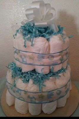 2 Tier Blue Diaper cake for gift or baby shower for boys or girls decoration