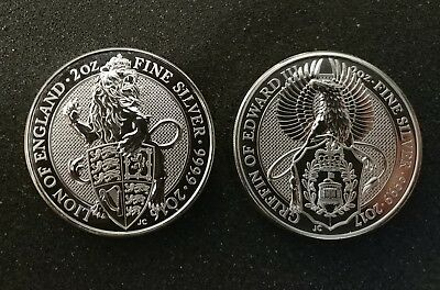 2016 & 2017 Queen's Beast Lion & Griffin Silver Coins w/ Air-Tite gasket capsule
