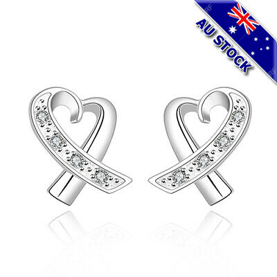 Classic925 Sterling Silver Filled Clear Zirconia Crystal Love Heart Stud Earring