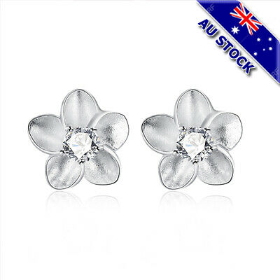Classic 925 Sterling Silver Filled Clear Zirconia Crystal Flower Stud Earrings