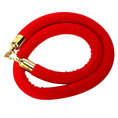 Barrier Rope Crowd Control Stanchion Queue Velvet Rope w/Gold Polished Hooks Red