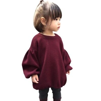 AU Baby Girls Knitted Loose Sweater Shirt Toddler Long Sleeve T-shirt Blouse Top
