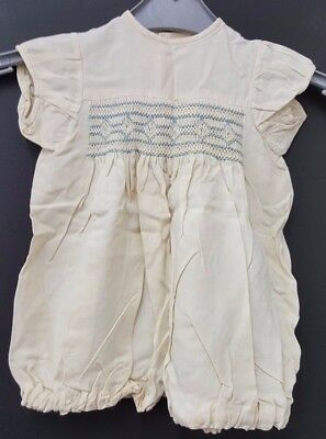 Vintage/Antique Baby Smocking Dress with Press Studs and Blue Detail (S16_1494)