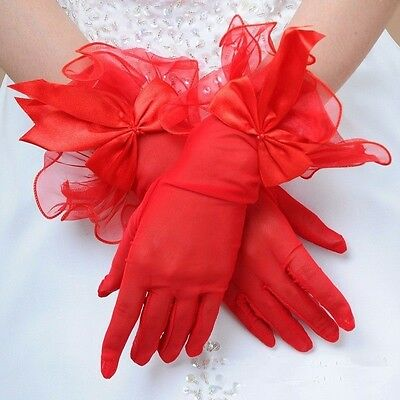 Fashion Women's Formal Wedding Bridal Red Bow-knot Driving Party Gloves HOT