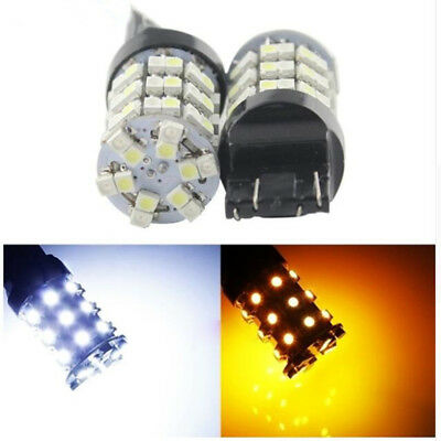 2X T20 7443 1210 60SMD White Amber Dual Color Light Switchback Reverse Tail bulb