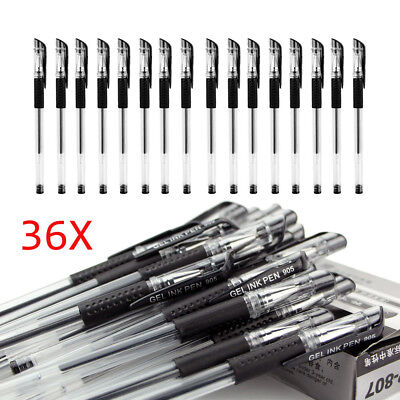 36pcs Black Gel Pens Rubber Grip Student Office Ink Stationery Ballpoint 0.5mm
