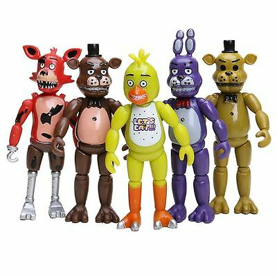 5pcs FNAF Five Nights at Freddy's Action Figures Doll LED LIghts Kid Playset Toy