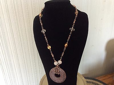 Lia Sophia Necklace Beaded Bronze Chain with Pendant, NWT