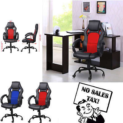 High Back Racing Car Style Bucket Seat Office PC Desk Gaming Chair Blue Red New