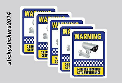 Sticker Warning 24Hrs Recorded CCTV 240x200mm Pack (5) Offer & Fast Delivery