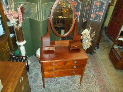 Antique Edwardian 1900 mahogany inlaid dressing table drawers oval mirror