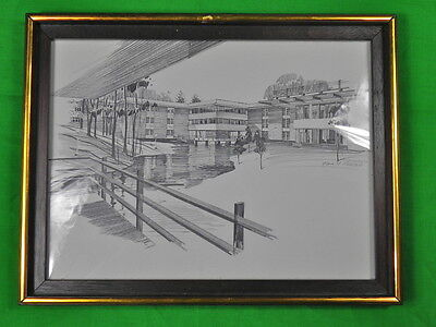 "Pencil Print "" Muskegon Community College "" by PAUL N. NORTON Framed Art"