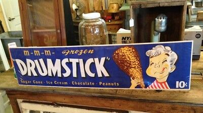 Vintage 1950 Drumstick Ice Cream Paper Advertising Sign Chocolate peanut butter