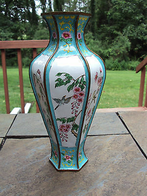 Antique / Vintage Brass and Enamel Oriental Vase