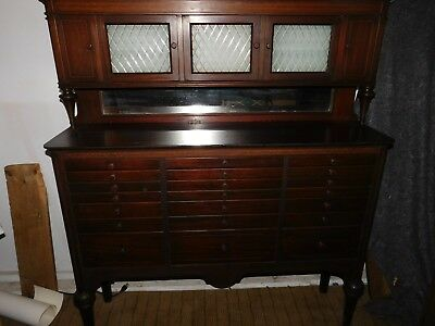 Vintage Dental Cabinet With 20 Drawers /Glass Inserts