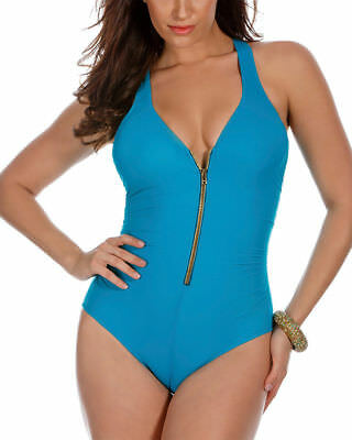 8aedb42a93c Miraclesuit Women's Solid Ziptress One-Piece Swimsuit Lagoon Blue w/ Gold  Zipper