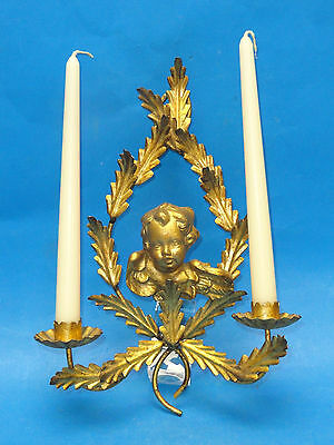 Antique Elaborate Italian Gilded Carved Putti Angel Tole Candle Sconce