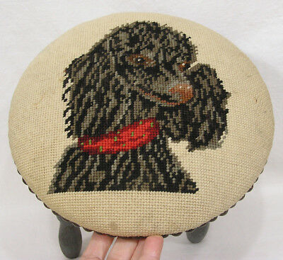 Vtg Wood Stool w Needlework Poodle Seat Black Dog 1950s