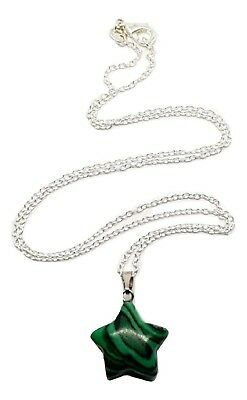 Malachite Star Gemstone Pendant Hand Shaped & Silver Chain Necklace