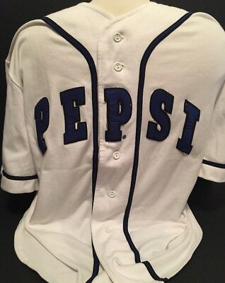 Vintage 1990's PEPSI Cola White Baseball Sports Jersey Excellent RARE Medium