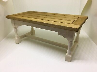1:12th dolls house miniature hand painted Refectory Kitchen Table Cream And Oak