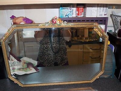Vintage Mirror rectangle with gold and flowers plaster and wood bevel glass 58x4