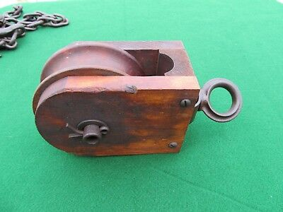 Antique Farm Hay Barn Wood Pulley Early Square Nut & Bolts Nice!