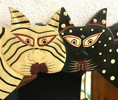 Beautiful Carved Wood 2 Cat', 4 Hook's & 1 Mirror Wall Art Hand Painted 19 X 10