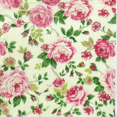 4x Paper Napkins for Decoupage Decopatch Craft Rose Fabric