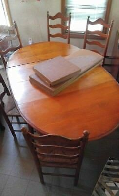Cushman Colonial Furniture Large Dining Room Table Hutch 6 Chairs Etc