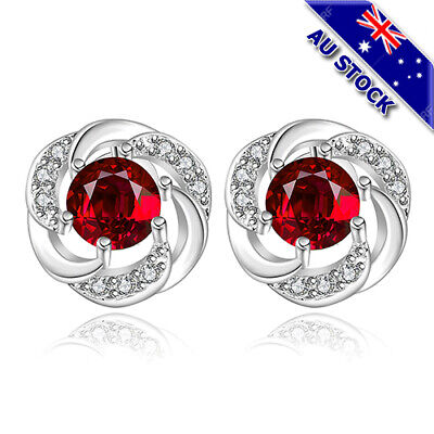 Classic925 Sterling Silver Filled Red Zirconia Crystal Flower Round Stud Earring