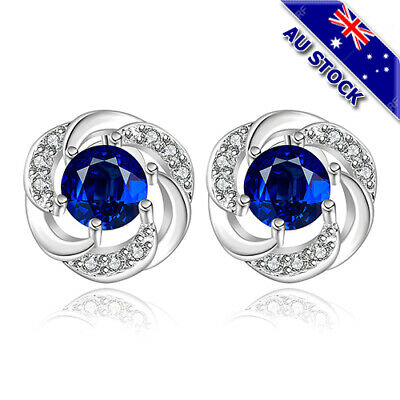 925 Sterling Silver Filled Blue Zirconia Crystal Flower Round Stud Earrings