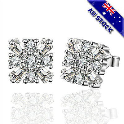 925 Sterling Silver Filled Clear Cubic Zirconia Crystal Flower Stud Earrings