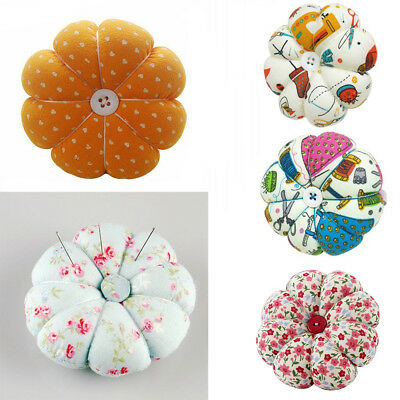 AL_ Sewing Needle Pin Cushion Pumpkin Shaped Holder Wrist Strap Craft Tool Rakis