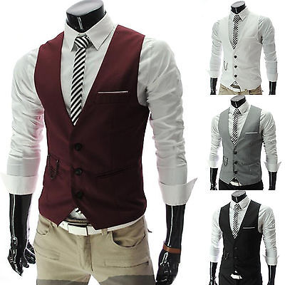 Men Formal Business Suit Vest Slim Dress Casual Waistcoat Jacket Coat Outerwear