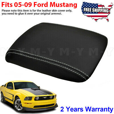 BLACK /& BLACK LEATHER CONSOLE ARMREST COVERS FITS FORD MUSTANG 1999-2004