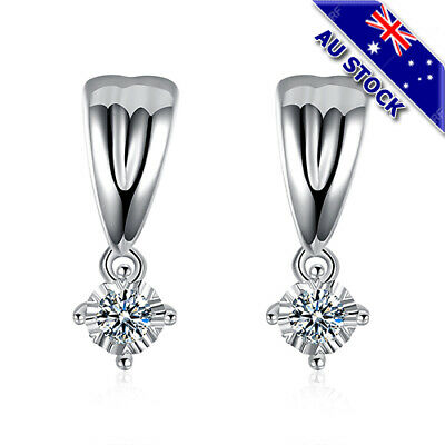 Classic 925 Sterling Silver Filled Clear Cubic Zirconia Crystal Stud Earrings