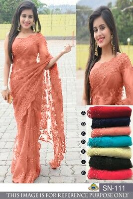 Nylon Net Wedding Bollywood Ethnic fancy Party Wear Pakistani Designer Saree