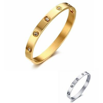 8MM Womens Stainless Steel Fashion White Sapphire Clip Bracelet Bangle Gift