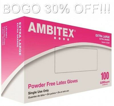 Ambitex Powder Free Latex Gloves, Extra Large, LXL 5201, 100 Gloves, BOGO 30 Off