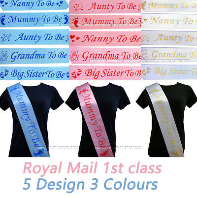 BABY SHOWER SASHES Mummy To Be Nanny Aunty Grandma Big Sister party sash