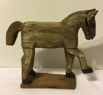 "Folk Art Wooden Handmade Horse On Wooden Base 12 1/2"" Tall"