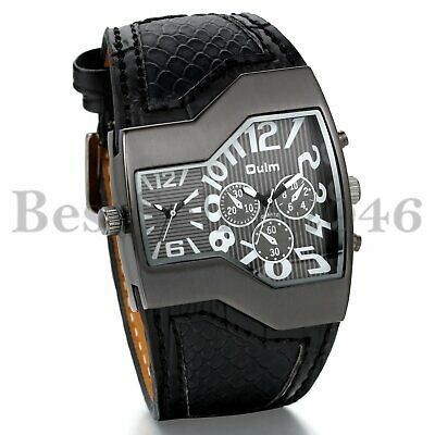 Military Army Men's Dual Time Zone Leather Band Sports Quartz Analog Wrist Watch