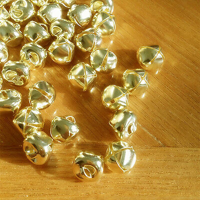 100pcs 10mm Gold  Steel Craft Jingle Bells With Loop Use as Dangle Charms Kits X